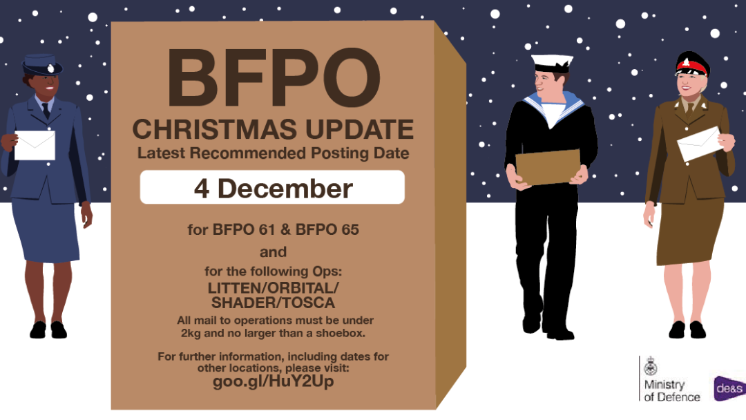 When are the last dates for Christmas post to BFPO addresses?