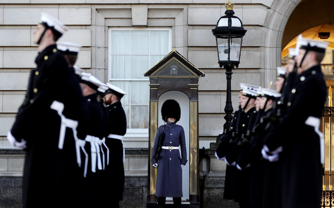 Royal Navy performs changing of the guard ceremony