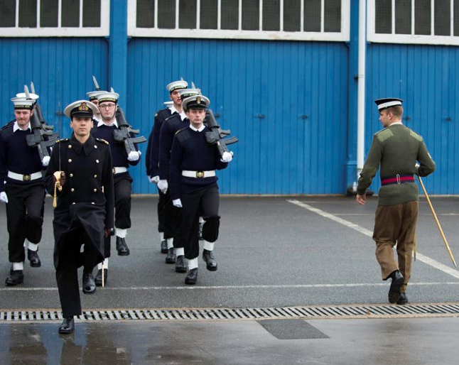 Guards teach drill to the Royal Navy for public duties