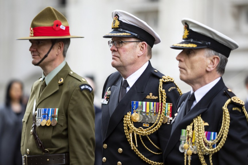 Armed Forces Mark Anzac Day At Cenotaph