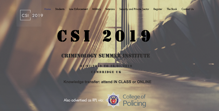 Criminology Summer Institute Openings Available For July 2019