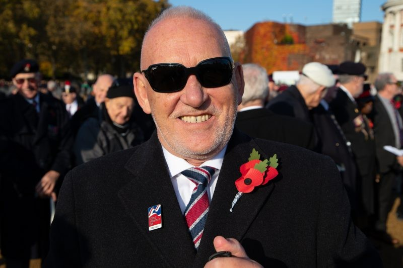 Blind Veteran Joins The March