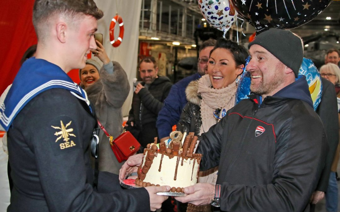 Birthday Surprise For HMS Prince of Wales Sailor