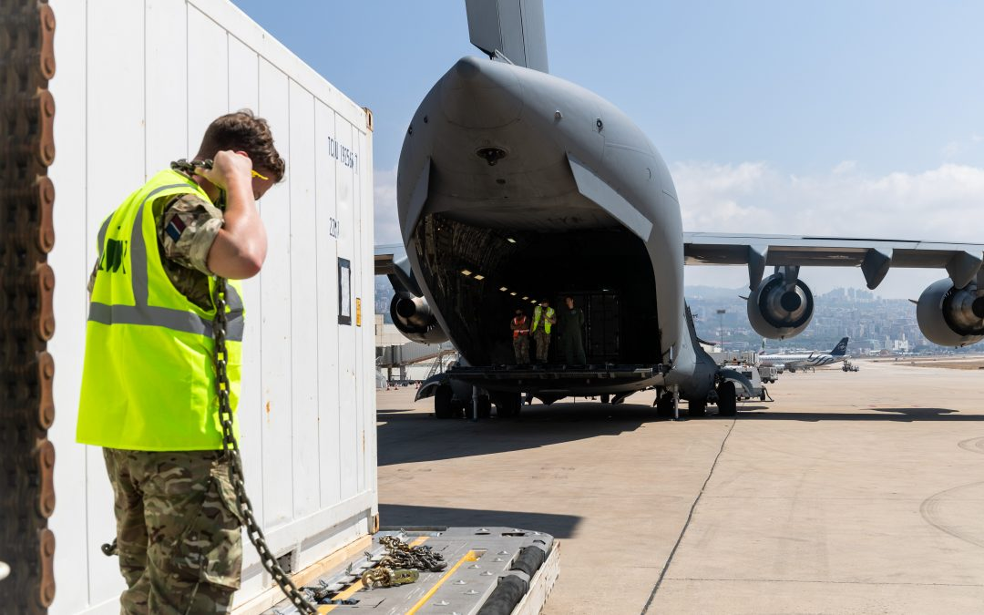 RAF C-17 Delivers Cold Storage Containers To Beirut