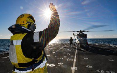 HMS Tamar Conducting Exercises At Sea With Royal Marines