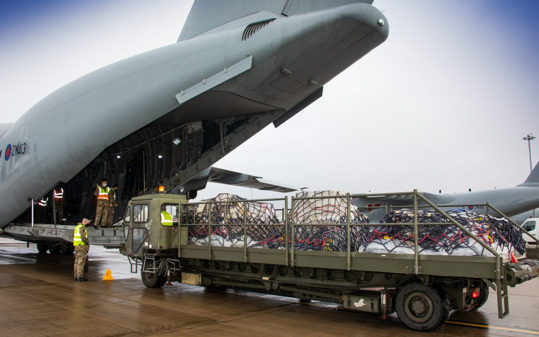 RAF Transport Oxford AstraZeneca Vaccine To Ascension Island In The South Atlantic Ocean