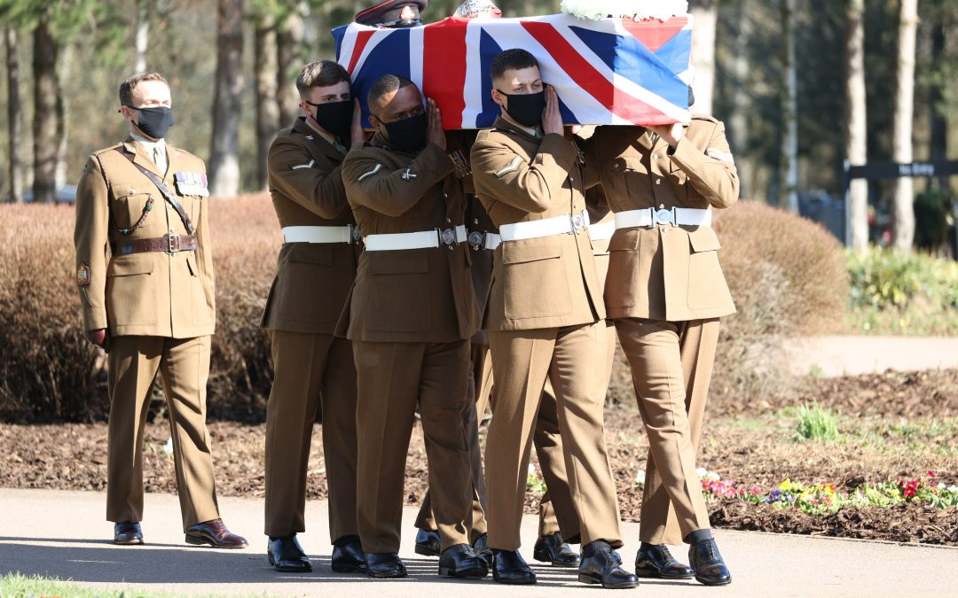 Service Personnel Provide Military Funeral Honours For Captain Sir Tom Moore