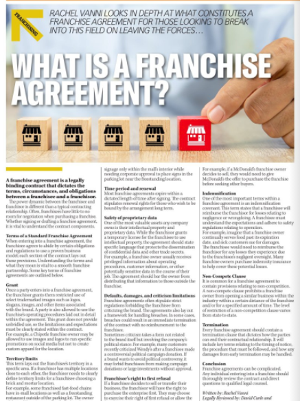 Franchising Advice For Military Service Leavers – What Is A Franchise Agreement?