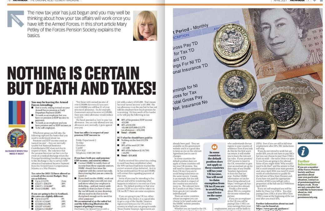 Armed Forces Pensions Focus – Nothing Is Certain But Death And Taxes!