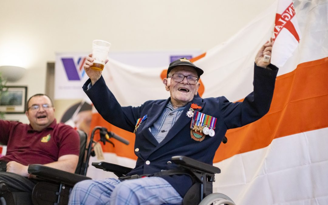Care for Veterans' Residents Celebrate England's European Championship Semi Final Win Last Night